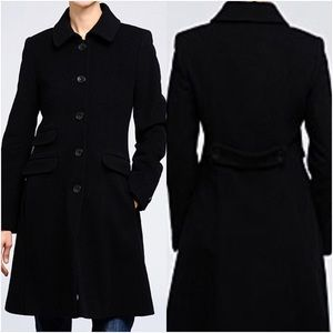 DKNY Black Wool Cashmere Blend Trench Coat EUC
